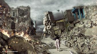 Chaos children destruction digital art ruins wallpaper
