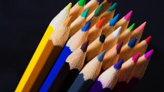 Colored pencils colors macro white background wallpaper