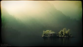 Digital art houses islands lakes mist wallpaper