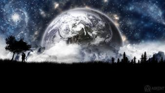 Earth planet clouds digital art forests wallpaper