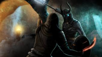 Elder scrolls v: skyrim artwork daggers dungeons wallpaper