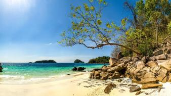 Emerald thailand beaches beige green Wallpaper