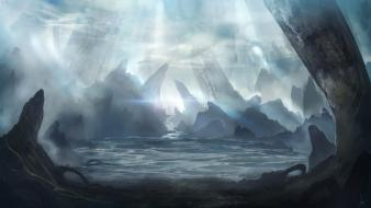 Fantastic monks digital art fantasy fog wallpaper