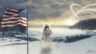 Fantastic moon astronauts digital art fantasy wallpaper