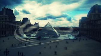 France louvre museum paris digital art landscapes wallpaper