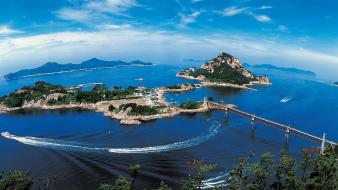 Korea bay beaches blue bridges Wallpaper