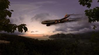 Lost tv series aircraft burning plane crash forests wallpaper