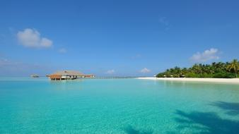 Maldives seychelles water white sand wallpaper
