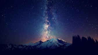 Milky way galaxies landscapes mountains nature wallpaper