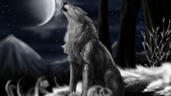 Moon artwork night snow wolves Wallpaper