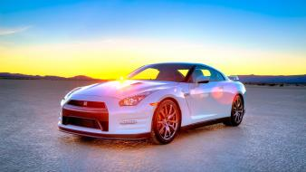 Nissan gt-r cars sunrise white Wallpaper