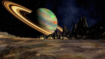 Saturn digital art outer space wallpaper