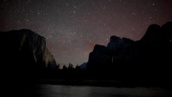 Starry night digital art hills landscapes nature wallpaper
