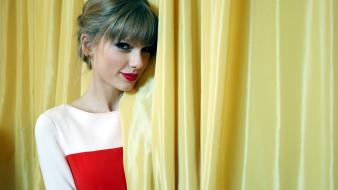Taylor swift bangs curtains red lipstick singers wallpaper