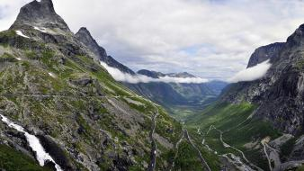 Trollstigen clouds landscapes mountains nature wallpaper