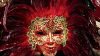 Venetian masks colors feathers head dress wallpaper