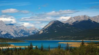Abraham lake alberta canada blue clouds wallpaper