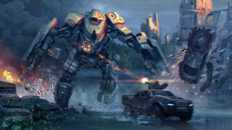 Artwork combat futuristic robots ruins wallpaper