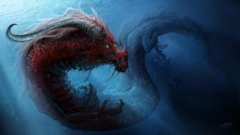Artwork dragons fantasy art sunlight underwater wallpaper