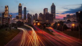 Atlanta cities dusk long exposure skyscrapers wallpaper