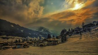 Austria mountains snow sunset villages wallpaper