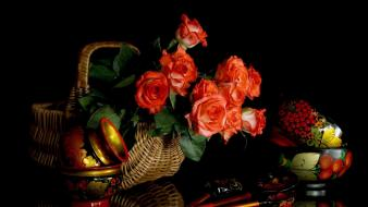 Baskets black background flowers nature roses wallpaper
