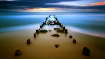 Beaches blue clouds dock long exposure wallpaper