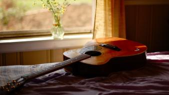 Beds curtains guitars music musical instruments Wallpaper