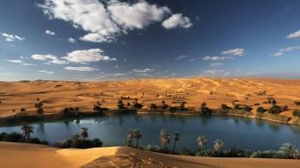 Beige blue clouds deserts lakes wallpaper