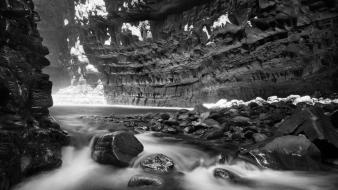 Black and white long exposure monochrome nature wallpaper