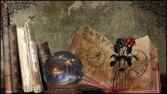 Black roses books crystal ball digital art flowers wallpaper
