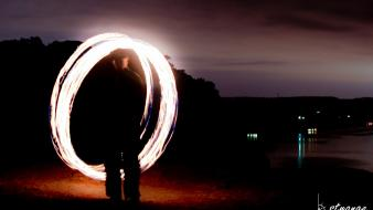 Bstrange cliffs fire spinning long exposure poi wallpaper