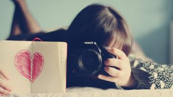 Cameras girlycard hearts love you Wallpaper