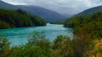 Chile patagonia without dams clouds forests green wallpaper
