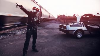 Daft punk delorean dmc-12 cars nature outdoors wallpaper