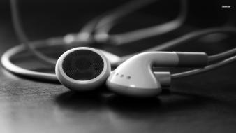 Ear grayscale headphones music wallpaper