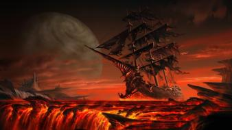 Fantasy art floating ghost ship lava sailing Wallpaper