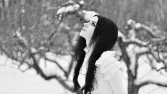 Gothic black and white brunettes dress long hair wallpaper