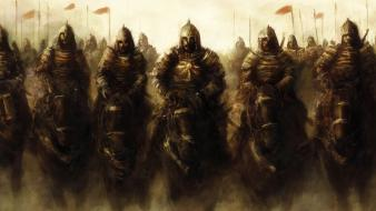 Heathen foray army artwork fantasy knights wallpaper