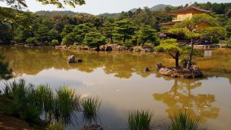 Japan temple gold golden lakes wallpaper