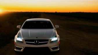 Led mercedesbenz mercedes benz cls63 amg cars sunset wallpaper