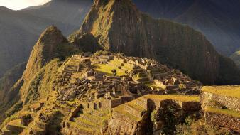 Machu picchu abandoned city ancient architecture landscapes Wallpaper