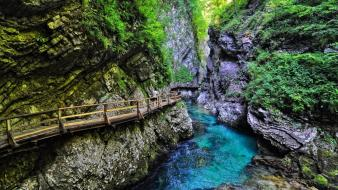 National park slovenia blue canyon cliffs wallpaper