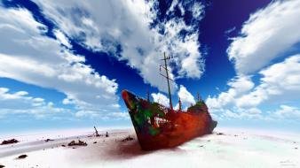 Original content boats clouds deserts scenic wallpaper