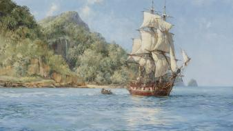 Paintings pirates sea ships wallpaper