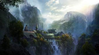 Rivendell the lord of rings artwork clouds wallpaper