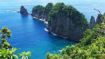 Samoa blue cliffs green islands wallpaper