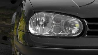Volkswagen golf iv black and white green macro wallpaper