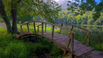 Wooden bridge nature wallpaper