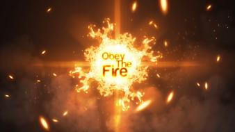 Abstract text fire obey wallpaper